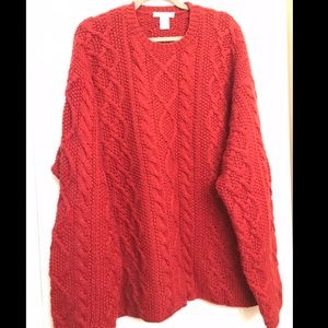 J. Crew Hand Knit 100% Wool Red Sweater size XL